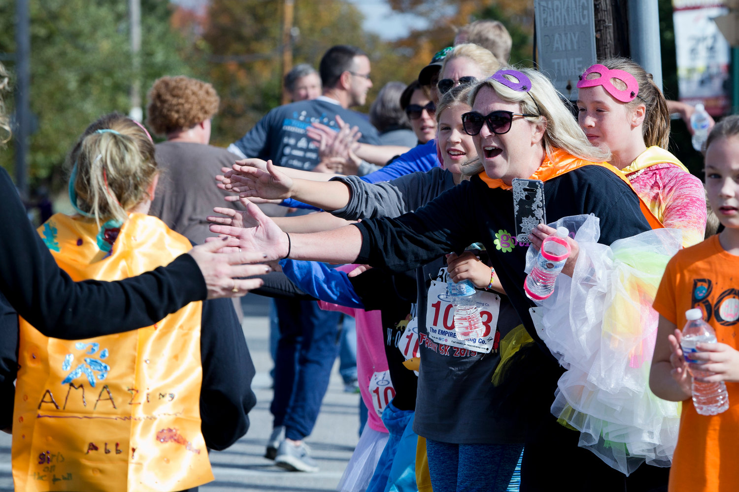 Runners gather at the conclusion of Sunday's Freaky 5k.