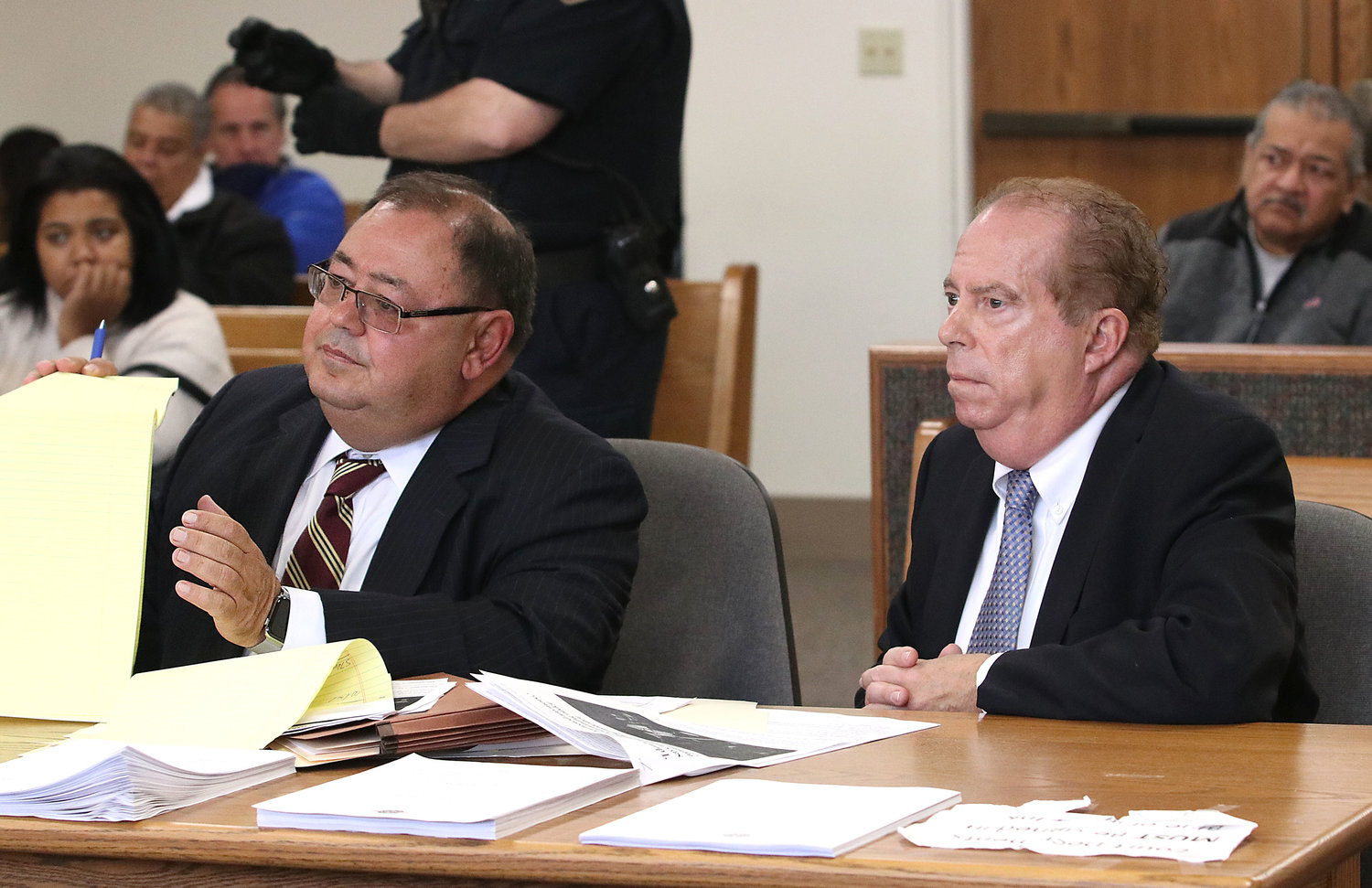 Attorney Fausto Anguilla (left) in court with his client, David E. Barboza, on Monday morning.
