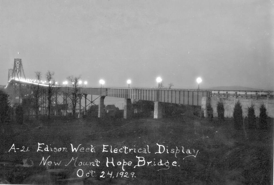The Mt. Hope Bridge as it appeared in 1929, shortly after it opened to the public.