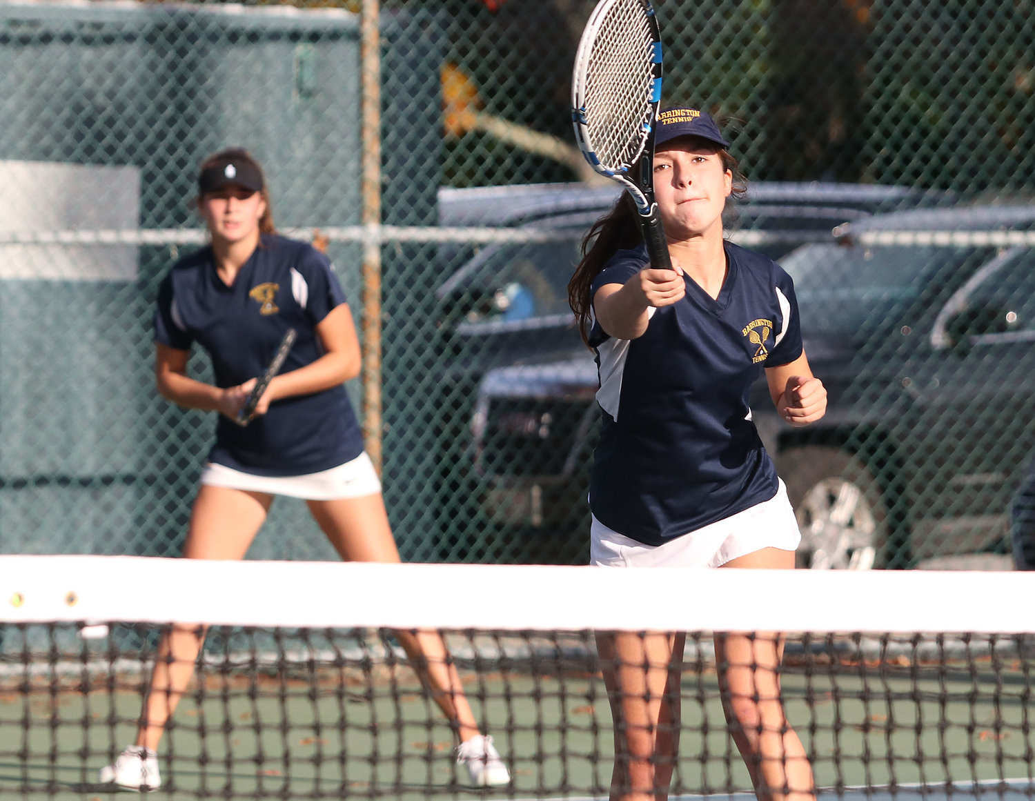 Barrington High School's number one doubles team of Hailey Walter (left) and Eve Stockwell battle LaSalle opponents during the Division I state finals on Saturday.