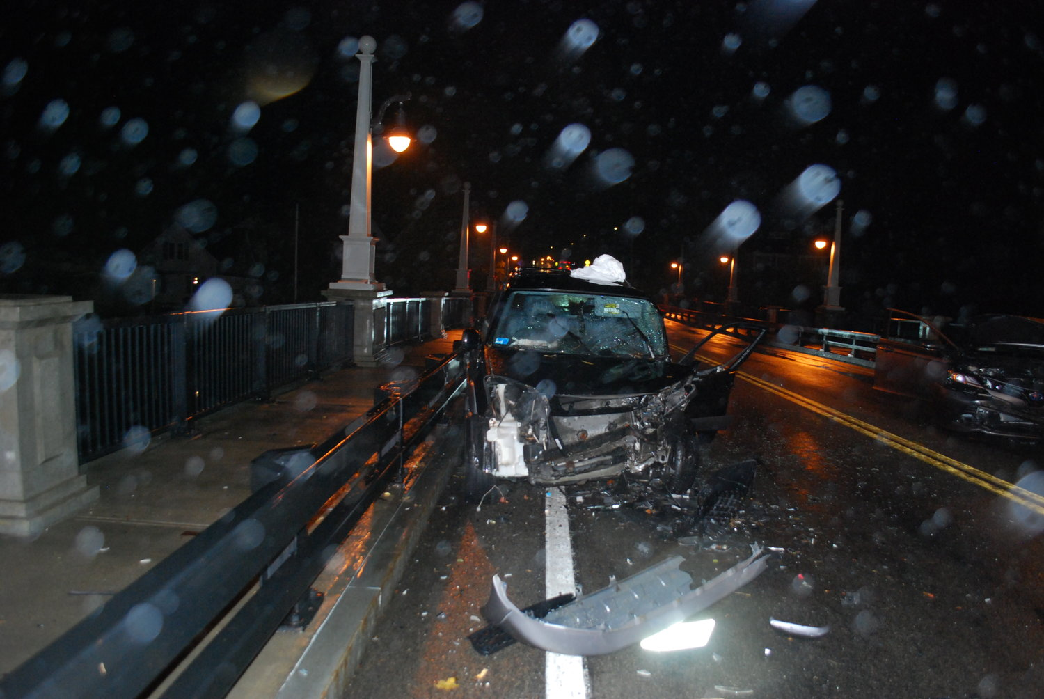 Police and fire department officials responded to a head-on crash on the Barrington River Bridge on Wednesday night, Oct. 30. Two motorists were injured.