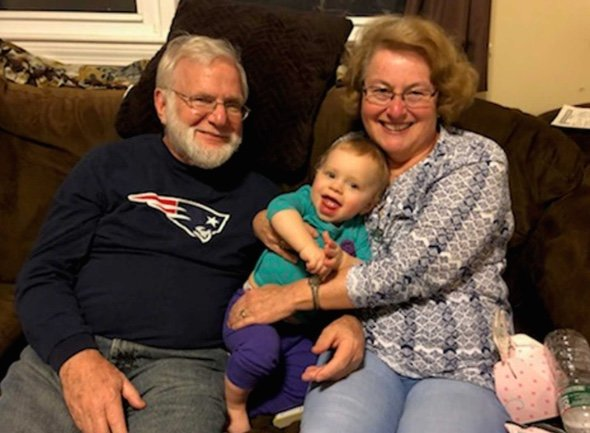 Westport resident Paul Vidal with his wife and one of three grandchildren. Family photo courtesy of WCVB5 TV.