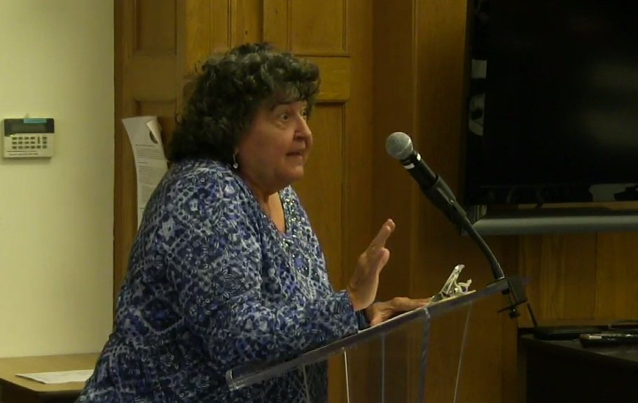 Vivian Weisman tells the Barrington School Committee that she was appalled with the committee's decision to continue pursuing the suspension case.