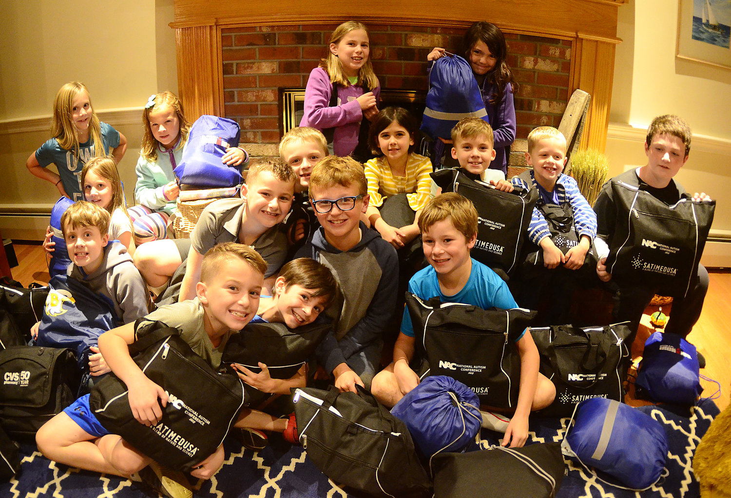 A group of Barrington children assembled care packs for homeless veterans recently. Barrington's Tinsley Kampmier-Williamson, who founded a charity called The Care Pack Project RI, organized the care pack assembly event.