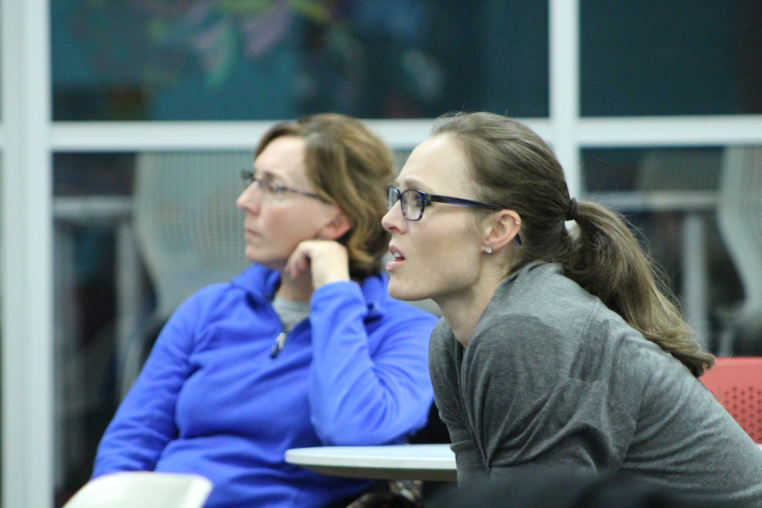 Audience members listen intently during a panel discussion about the vaping epidemic that was sponsored by the Portsmouth Prevention Coalition.