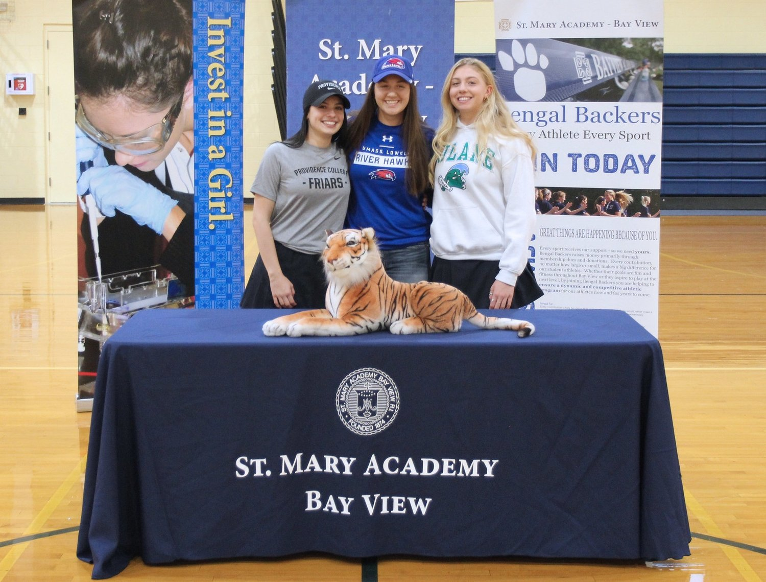 Bay View seniors Juliana Goncalves, Rebecca Vaillancourt, and Gianna Spremullo (from left to right) signed their student-athlete collegiate National Letters of Intent during a November 13 ceremony.