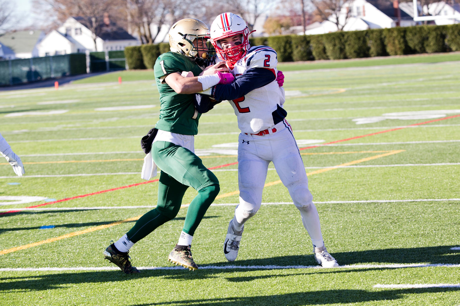 Benny Hurd battles his way past a Hendricken defender.