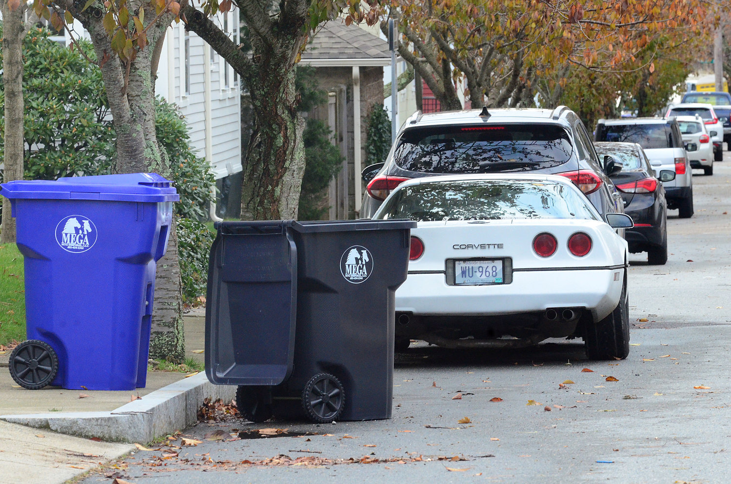 A view down Wheaton Street in Warren on Tuesday. Residents in the neighboring community are just beginning to adapt to their town's new trash and recycling program.