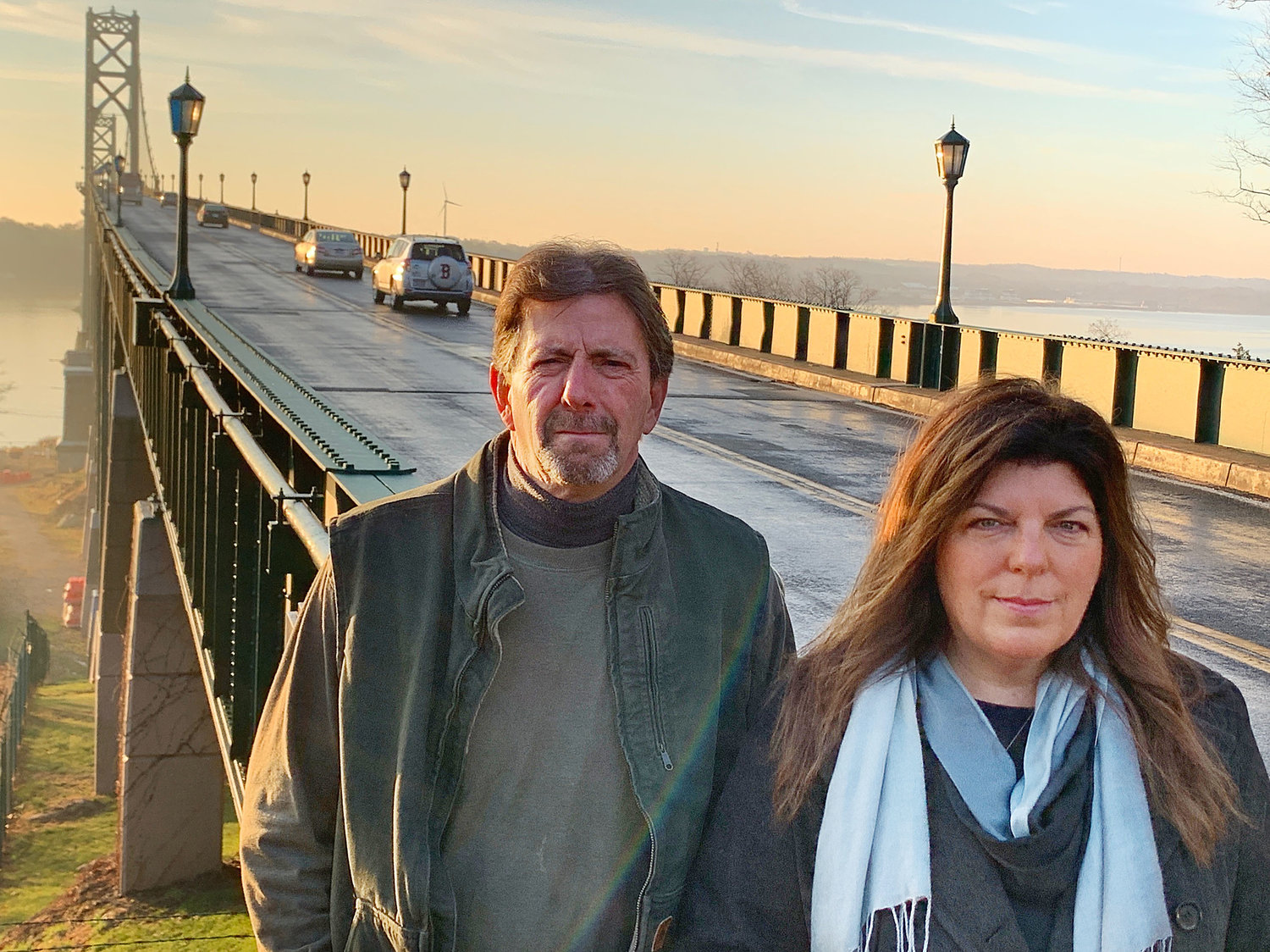 Brian Ganley (left) and Melissa Cotta both spoke to the Rhode Island Turnpike and Bridge Authority board of directors on Wednesday morning, urging them to investigate how to install suicide prevention barriers on the state's tall bridges.