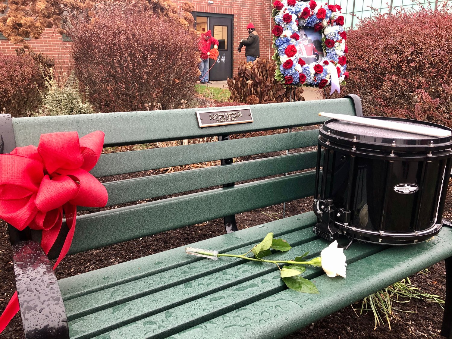 This bench, dedicated to the late Connor Peckham, sits outside the entrance to the band room at Portsmouth High School.