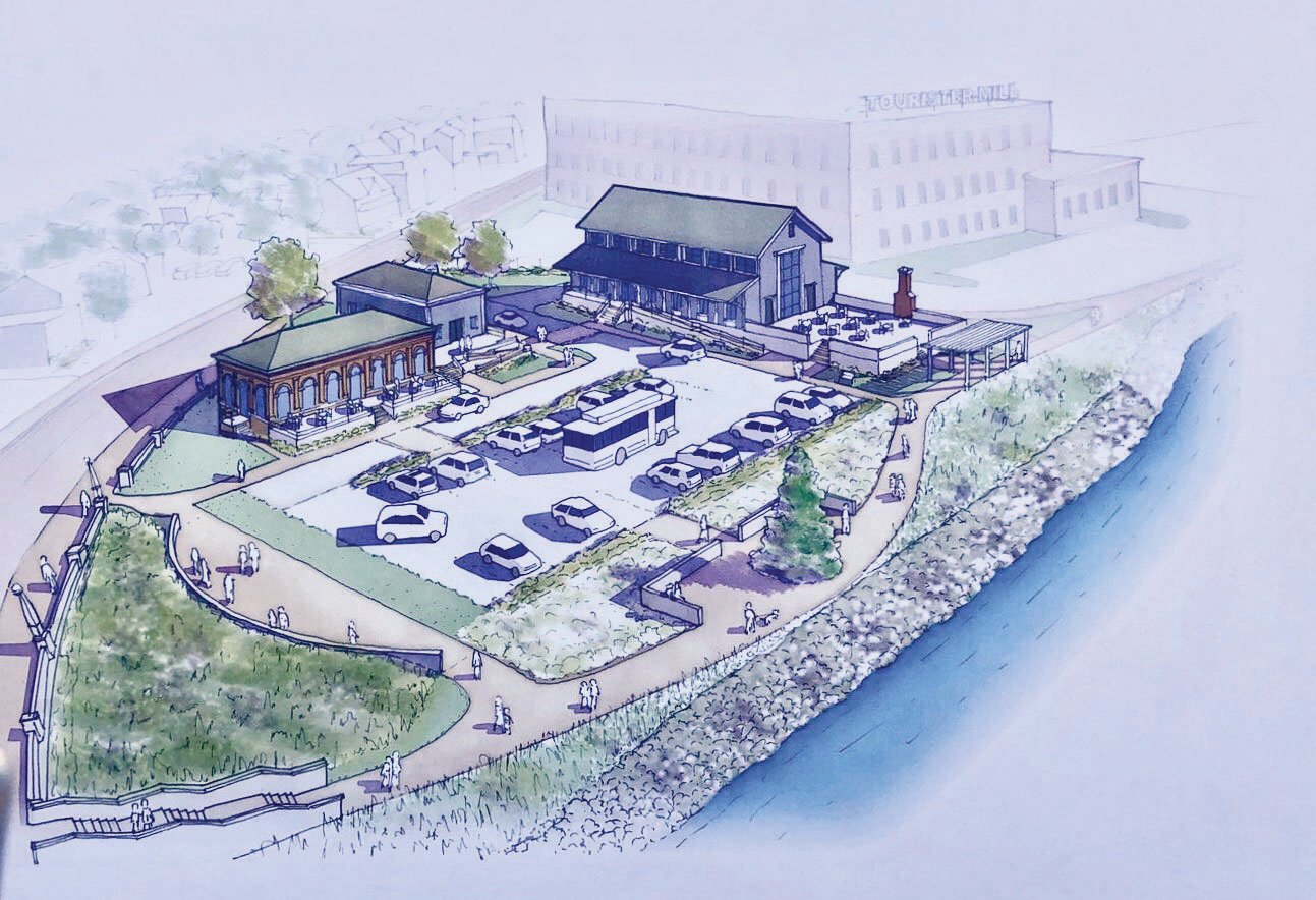 An artistic rendering shows a new building (back center) on what is now a concrete foundation from a previously razed structure.