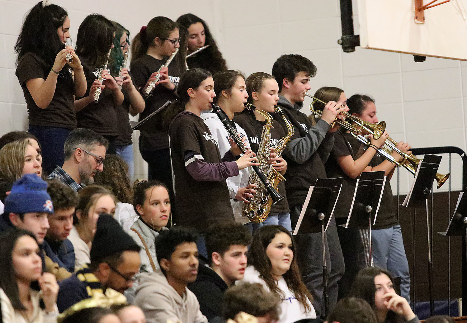 "The Westport Pep Band, directed by Chris Nunes, plays ""Crazy Train,"" by Black Sabbath during a time out."