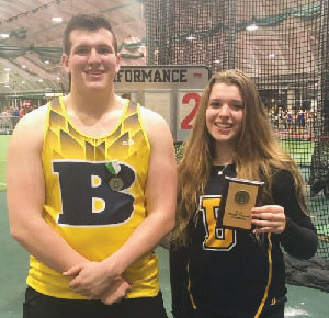 Two Barrington High School athletes performed well at the Dartmouth Relays at Dartmouth College on Sunday, Jan. 12. Will Cauley (left) finished second in the boys weight throw, while Maddy McGloin (right) won first place in the girls weight throw. McGloin's top distance was 48 feet, 5 inches. Cauley's top distance was 71 feet, 2.75 inches.