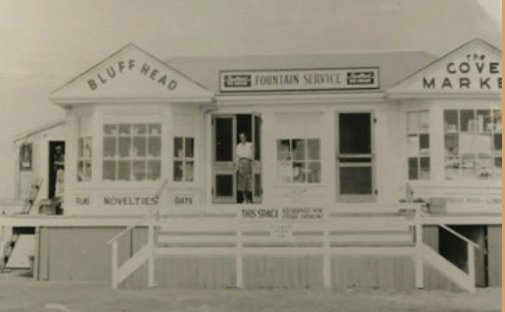 "This photo of the former Cove Market (7 Bluff Head Avenue) from Sakonnet Point Perspectives bears the caption — ""Lydia Brayton at the Bluff Head. Photograph courtesy of Barrett Jennings."""