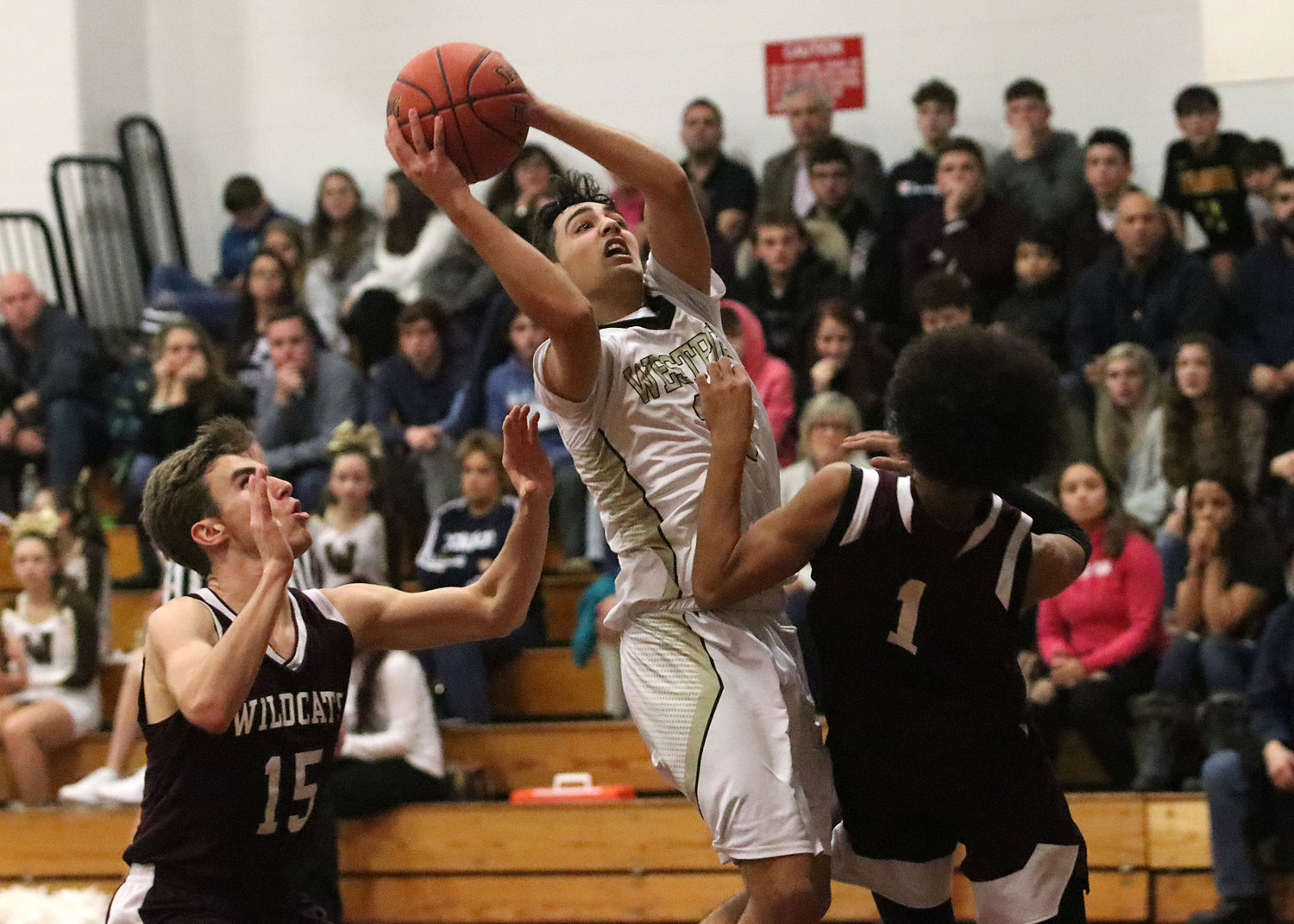 Domanick Vitorino flies in for a layup in the second half.