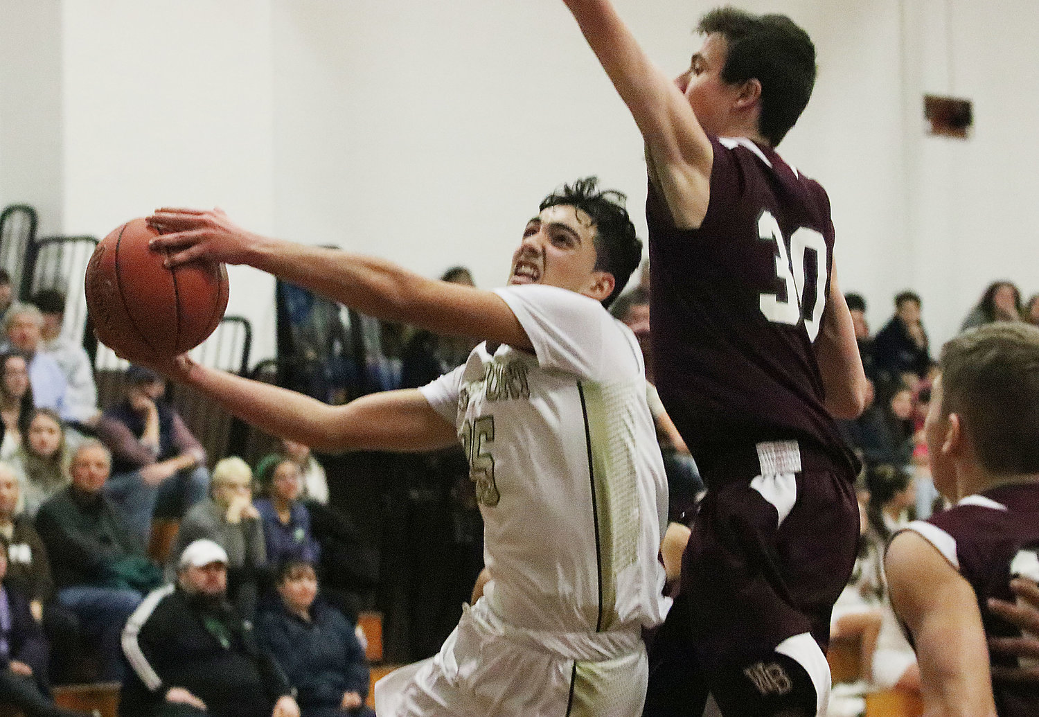 Domanick Vitorino drives to the basket in the second half.