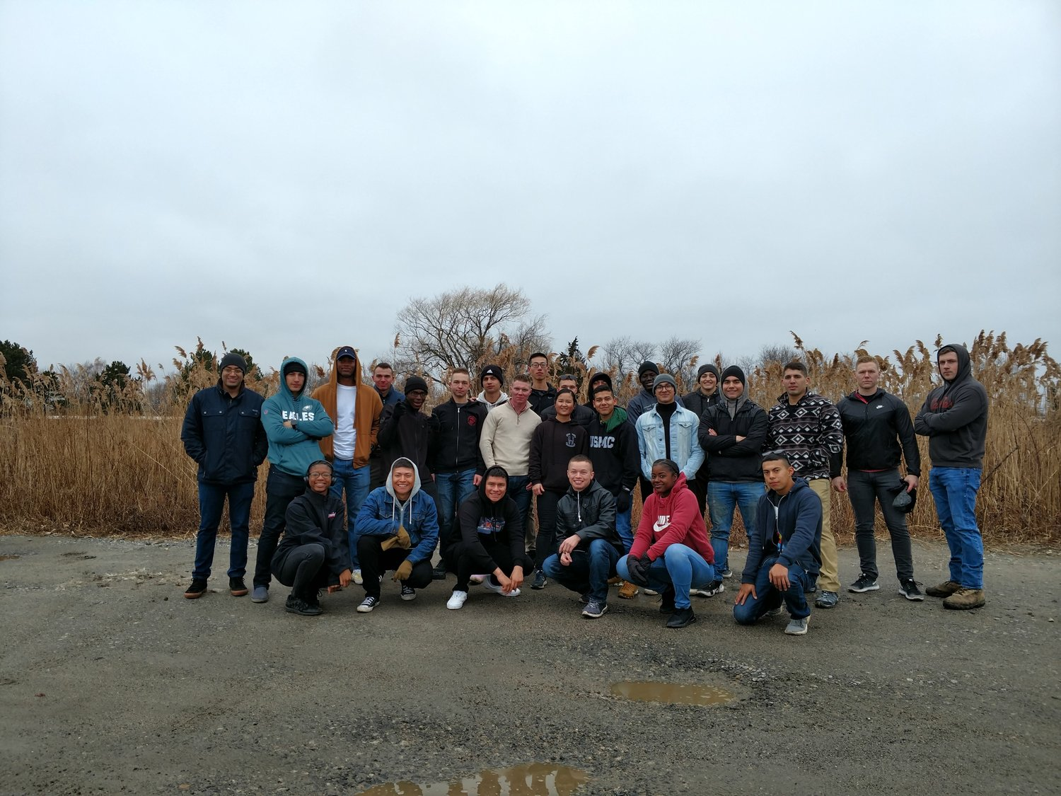 More than two dozen students from the Newport Navy Academy volunteered at the cleanup.