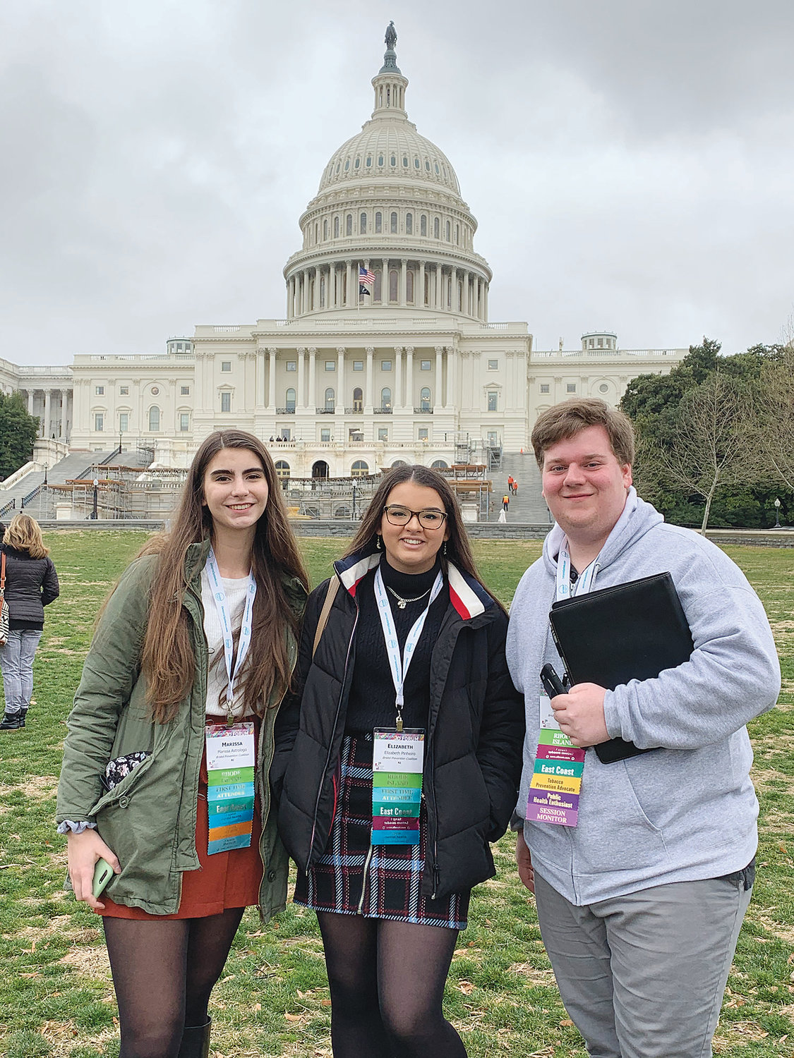Marissa Astrologo, Ellie Pinheiro and Sean Palumbo (left to right) took a trip to the U.S. Capitol, met with Rhode Island Congressional leaders, and came back energized from the experience.