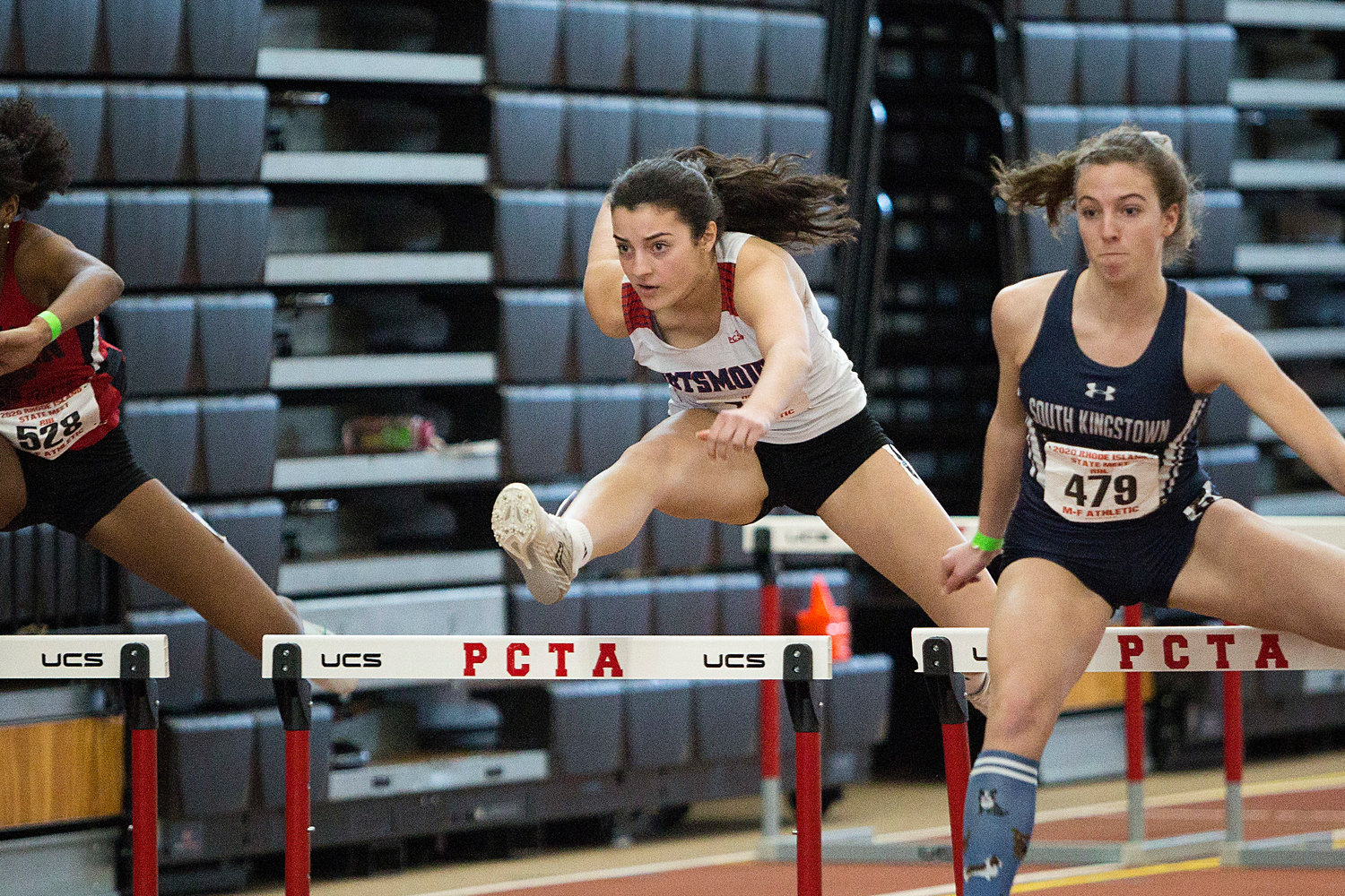Meghan Lehane came in fifth in the 55-meter hurdles with a time of 9.08 seconds, which broke her own school record.