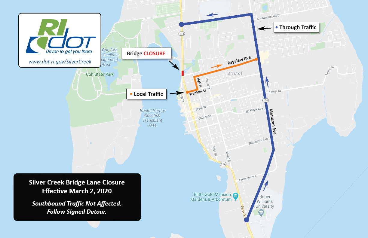 DOT is suggesting alternate routes to travel north through Bristol. Detour signs will be posted at Franklin Street to encourage motorists to travel to High Street, then to Bayview Avenue, to reach Metacom Avenue.