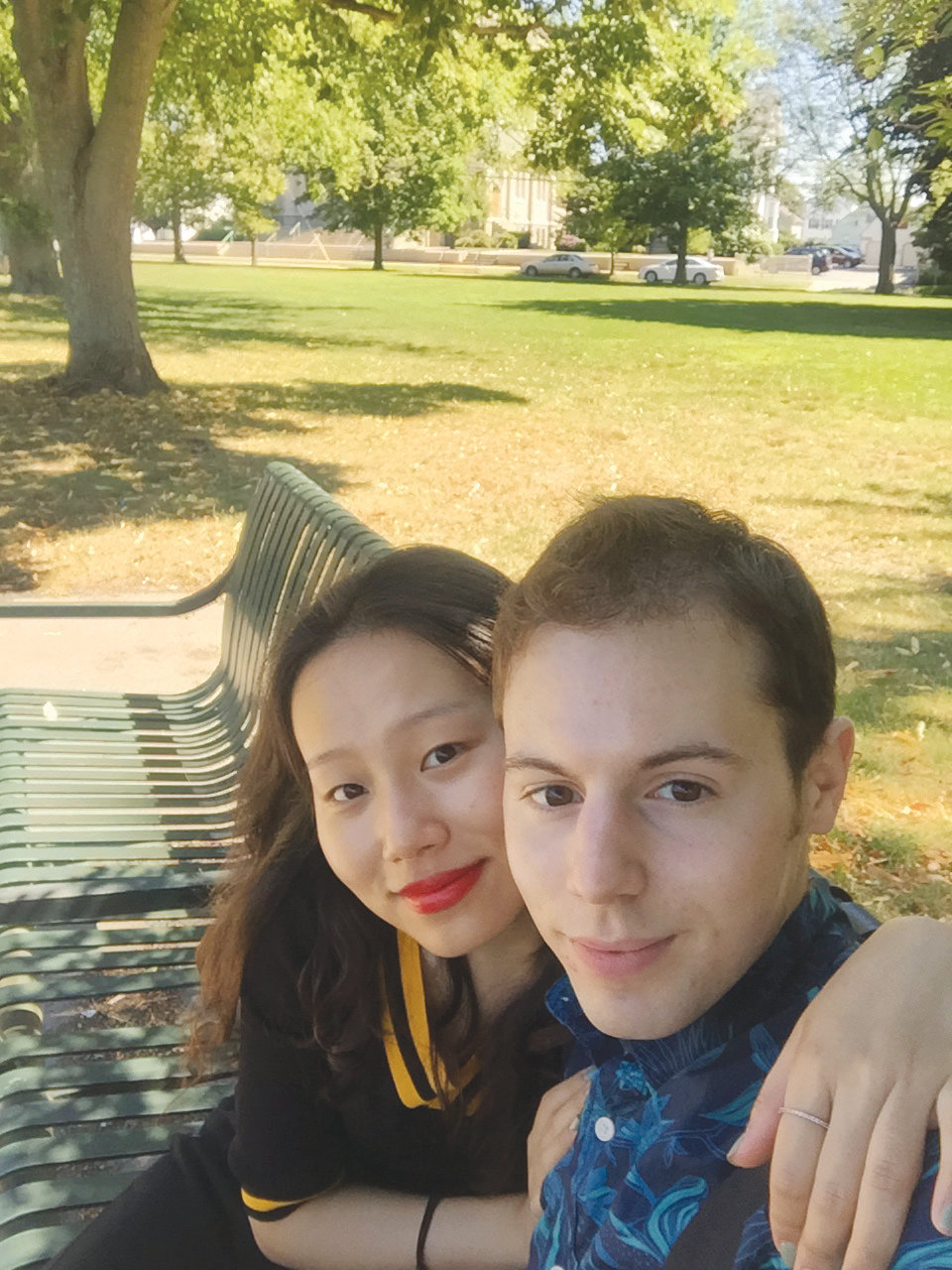 Kevin Spencer with his wife, Tian. He is finishing his master's degree in China, while she is studying in the UK. The couple will return to the United States this fall.