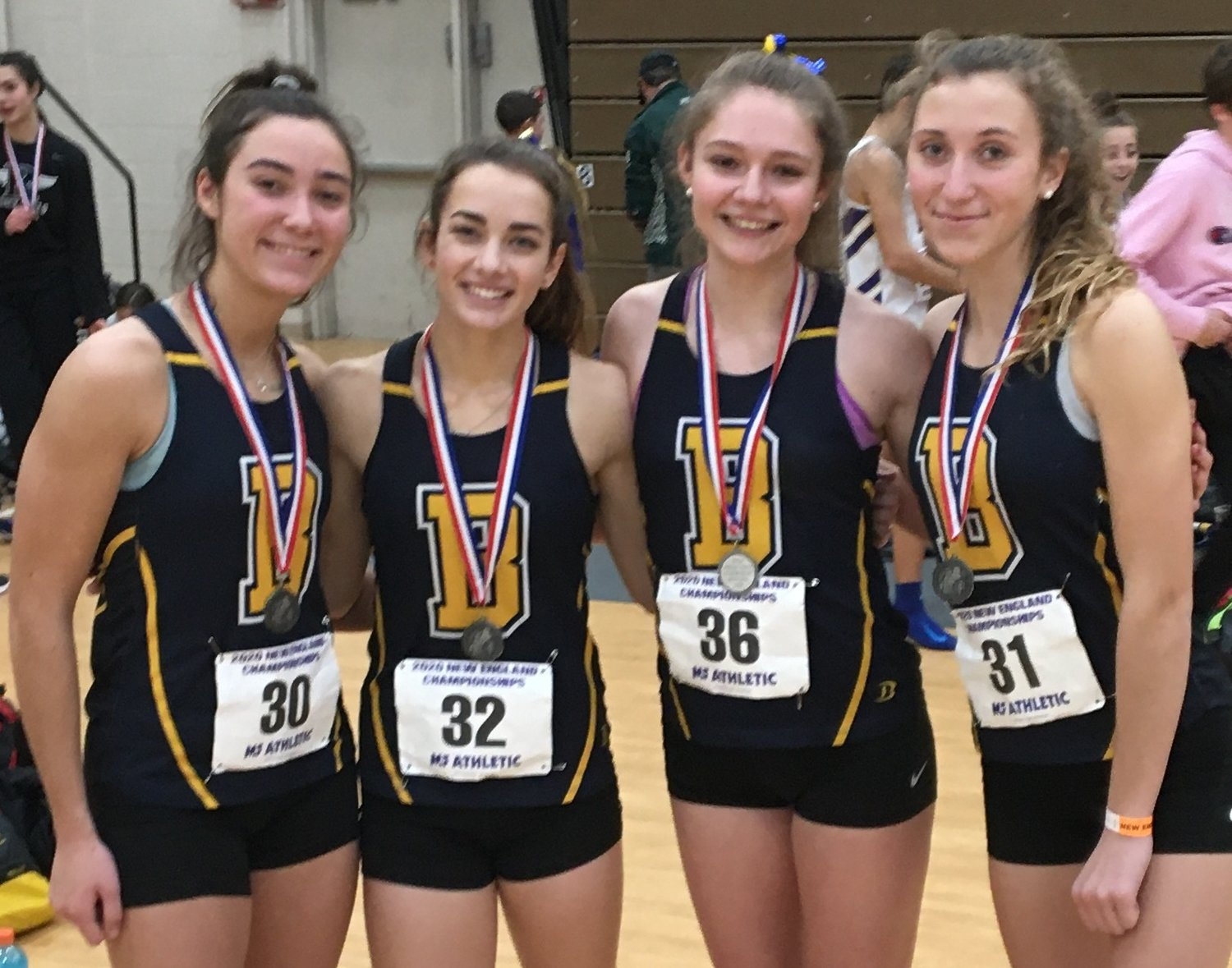 Members of Barrington's record-breaking 4x400-meter relay team, Tess Gagliano, Julia Howarth, Jordynn Palethorpe and Violet Gagliano (from left to right) would have competed at nationals.