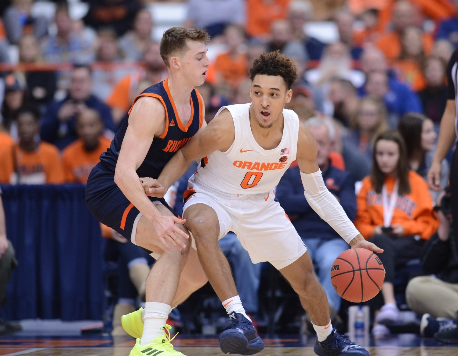 Brycen Goodine (right) was a standout at St. Andrew's School in Barrington. He then played for Syracuse and is now transferring to PC.