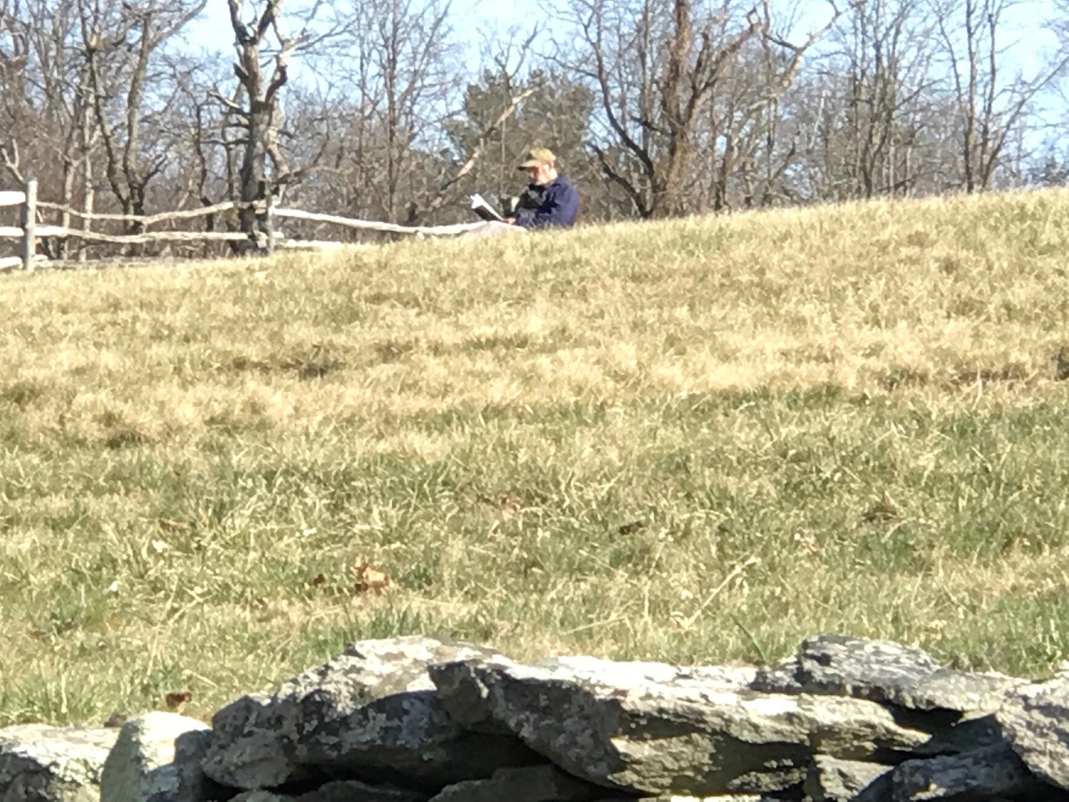 Meanwhile, away from busy Colt State Park, a man finds a quiet place to read at Coggeshall Farm in the late afternoon sunshine.