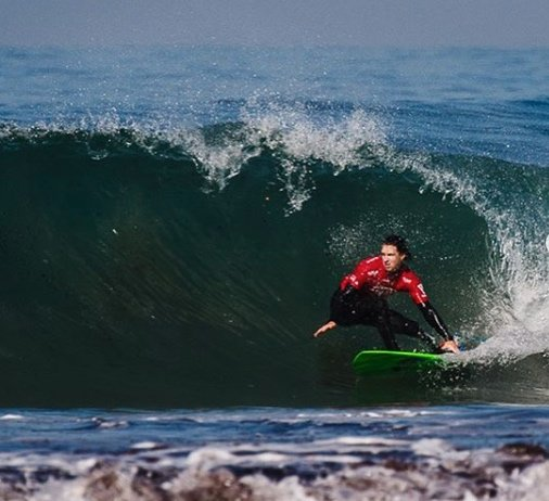 Colin Cook competes at the recent World Adaptive Surfing Championships in California.