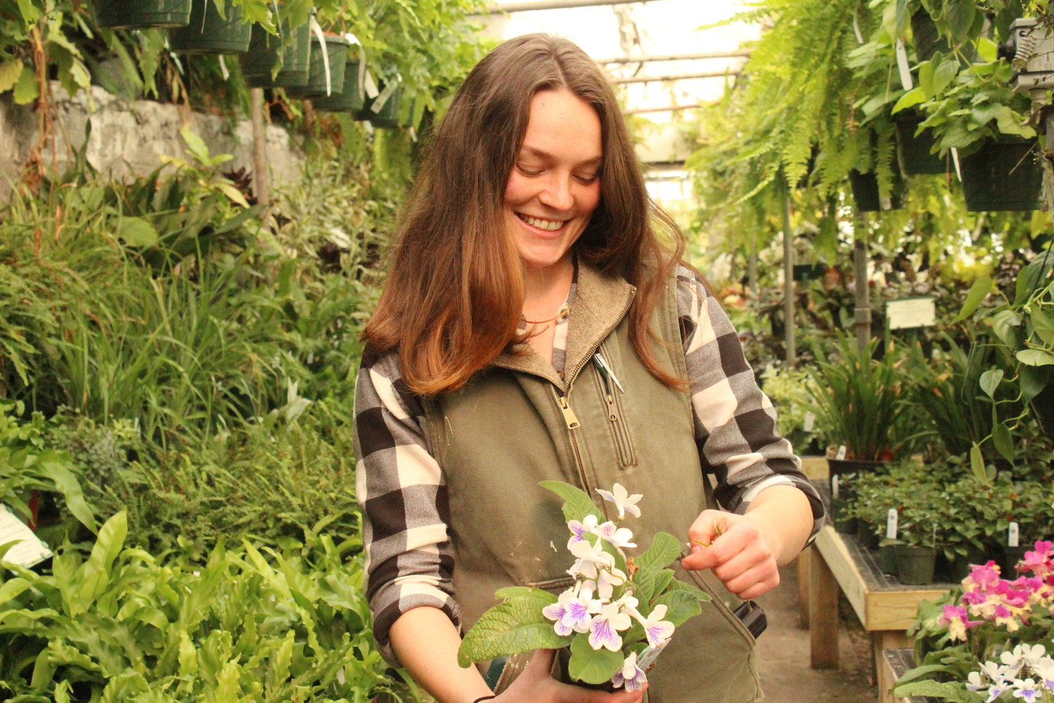 "Carley Peckham, who now serves as full-time manager, grew up at the greenhouse her parents, Rick and Laura Peckham, own. ""I really feel like the luckiest girl in the world,"" she says."