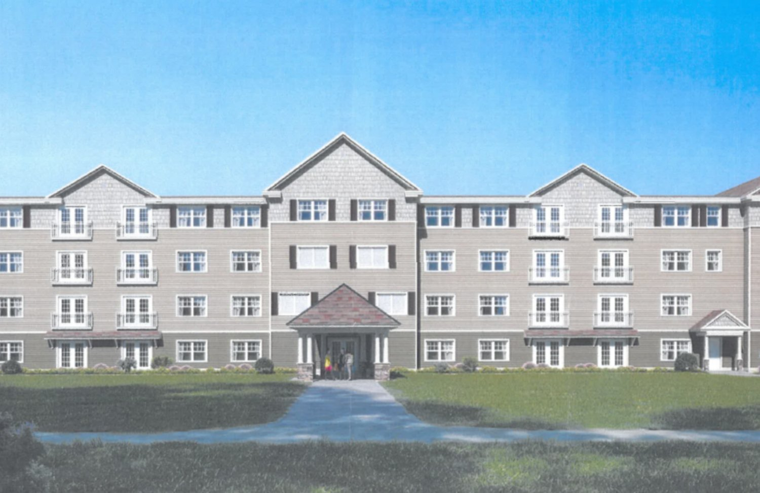 This artistic rendering shows one of two 54-unit apartment buildings that would be built on Kinnicutt Avenue, just south of Frerichs Farm.