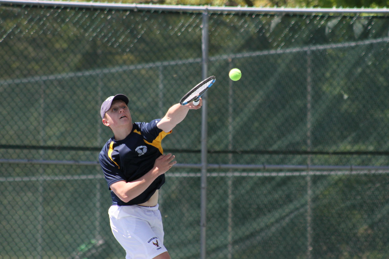 Owen Voigt (shown during a match last year) would have been a captain on the boys tennis team this spring.