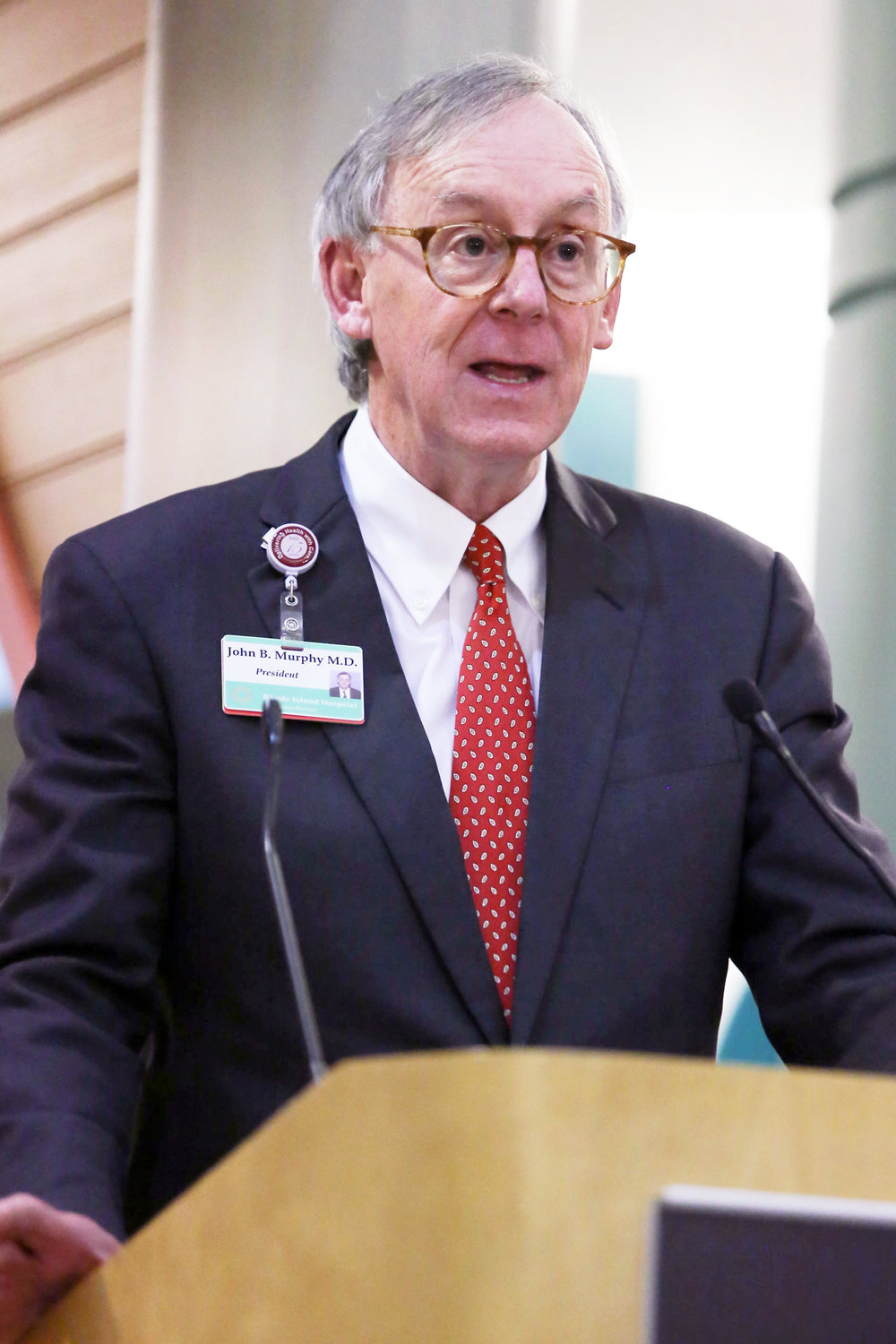 Barrington resident Dr. John Murphy, president of Rhode Island Hospital/Hasbro Children's Hospital and lead physician for Lifespan, delivers a speech. Dr. Murphy was recently selected for the 2020 Dennis W. Jahnigen Award from the American Geriatrics Society.