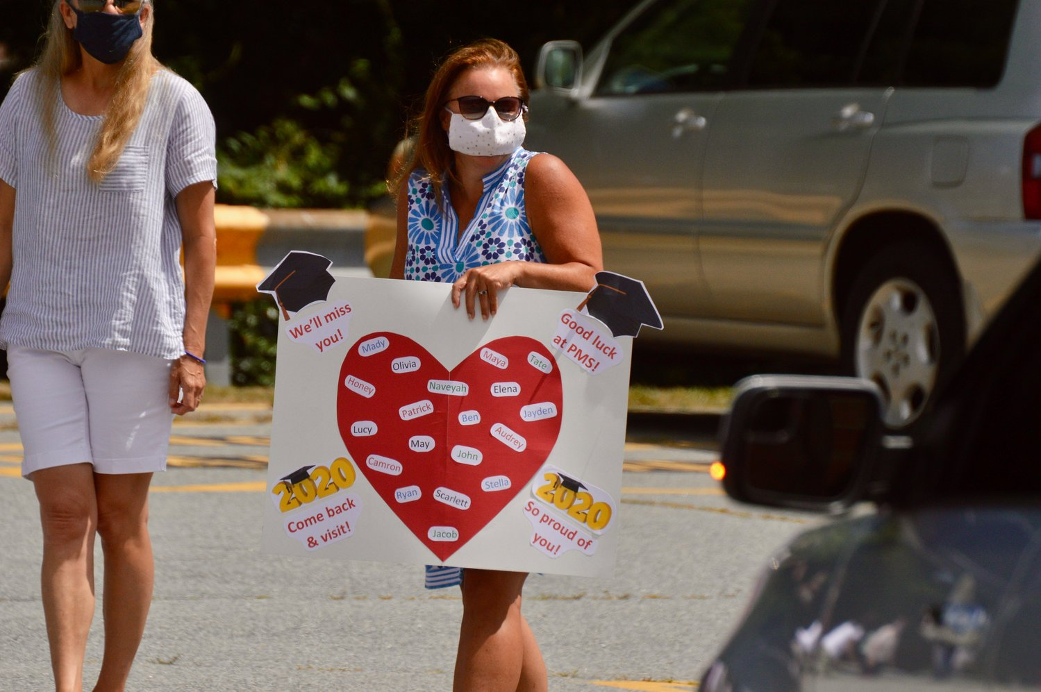 Hathaway School teacher Laurel Oliveira had a sign that listed all of her students.
