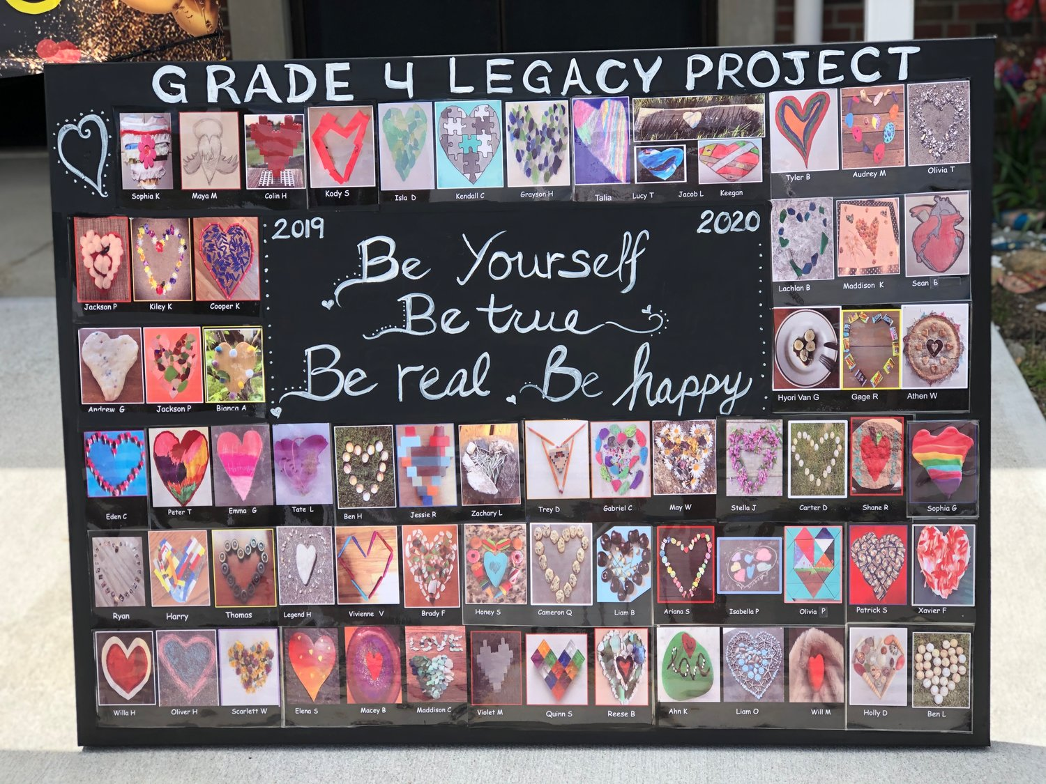 Artwork created by fourth-graders as part of their Legacy Project was displayed at the front of the school.