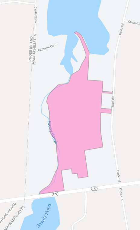 Map shows the Camara Area (in pink) and its Tickle Road, Westport, entrances.