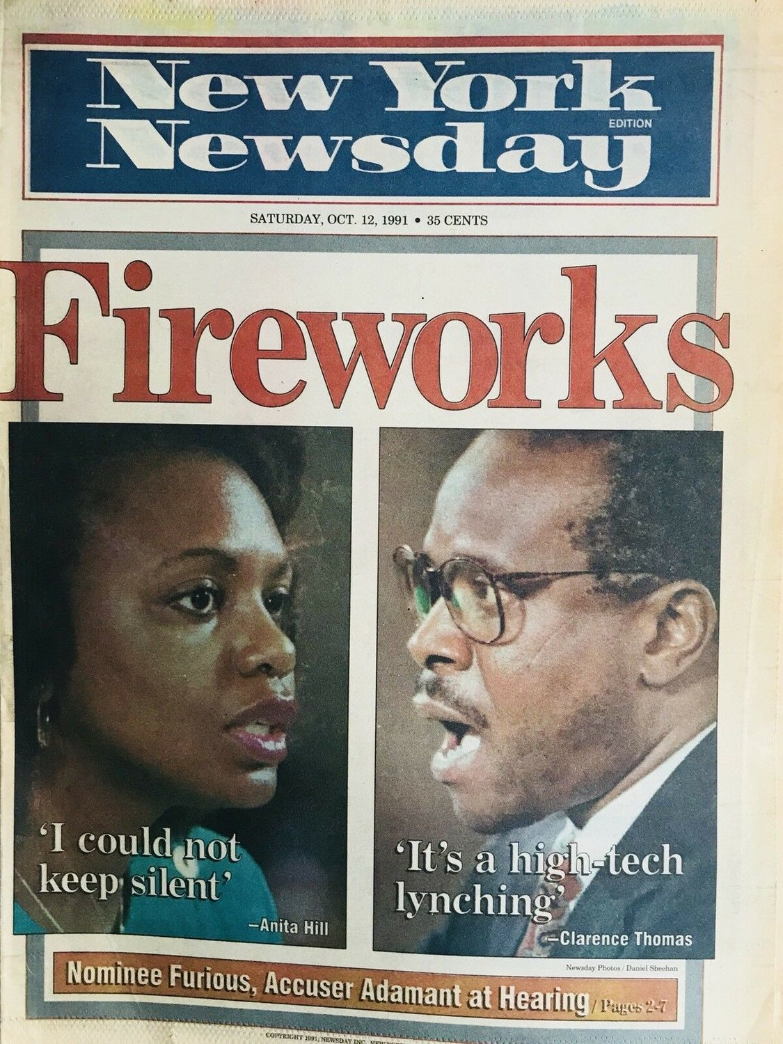 While working for Newsday in 1991, Tim Phelps broke the story about Anita Hill's accusations of sexual harassment in the workplace against U.S. Supreme Court nominee Clarence Thomas. This cover story about the confirmation hearings was published shortly afterwards.