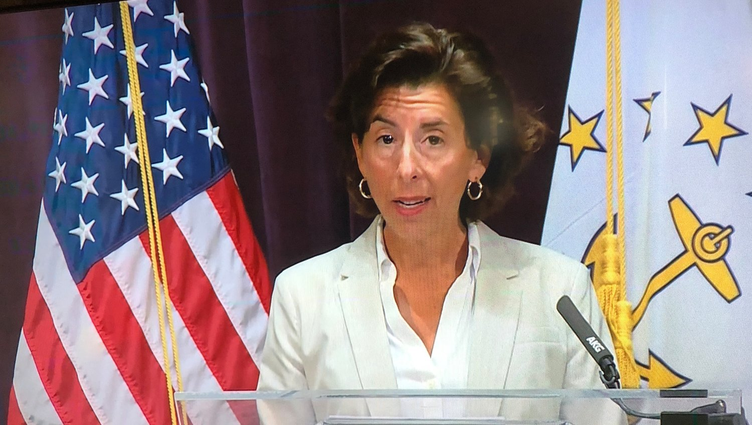 Gov. Gina Raimondo at her regular weekly Coronavirus briefing on Wednesday, Aug. 12.
