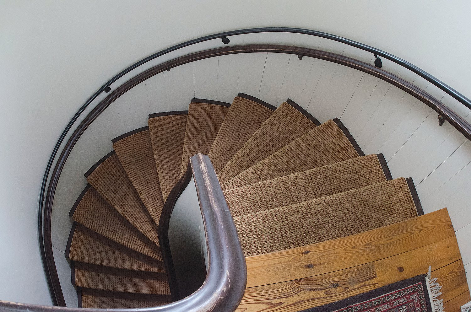 The spiral staircase, though lovely, can be a challenging way to come and go within the church.