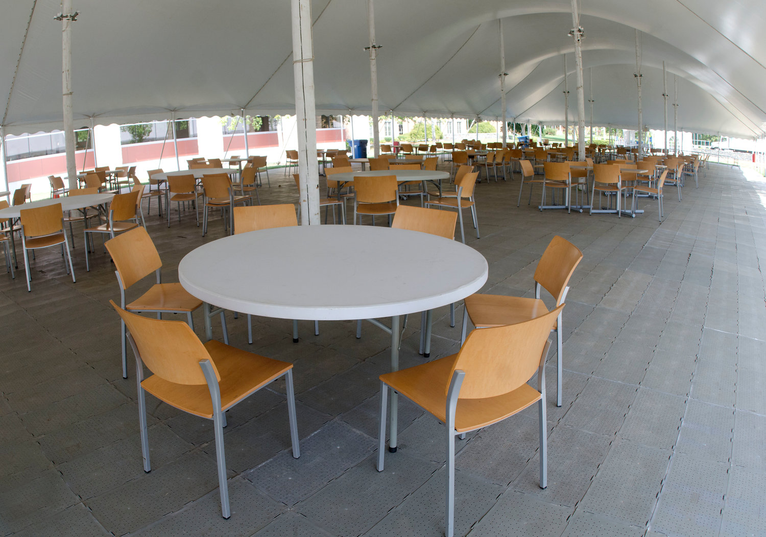 The university added a new outdoor dining tent, with capacity of more than 200 people, to encourage more outdoor dining and to keep people from eating too close to one another.