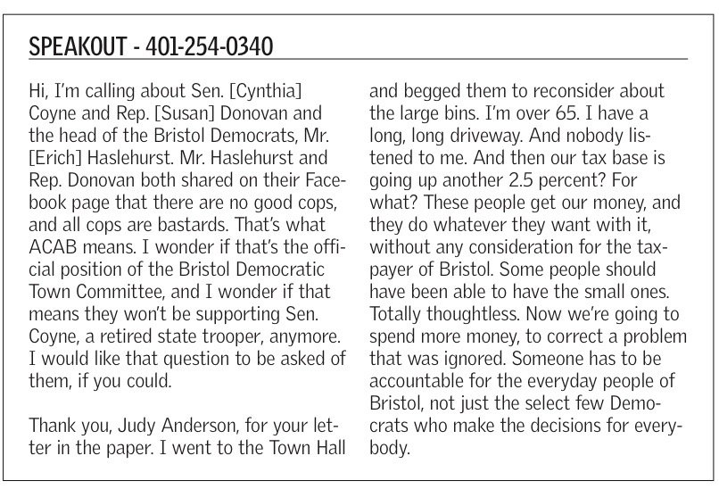 "Two leading Bristol Democrats were upset by this small item on page 7 of the Bristol Phoenix of Aug. 27. They both wrote letters regarding the ""anonymous political attack"" in their local paper."