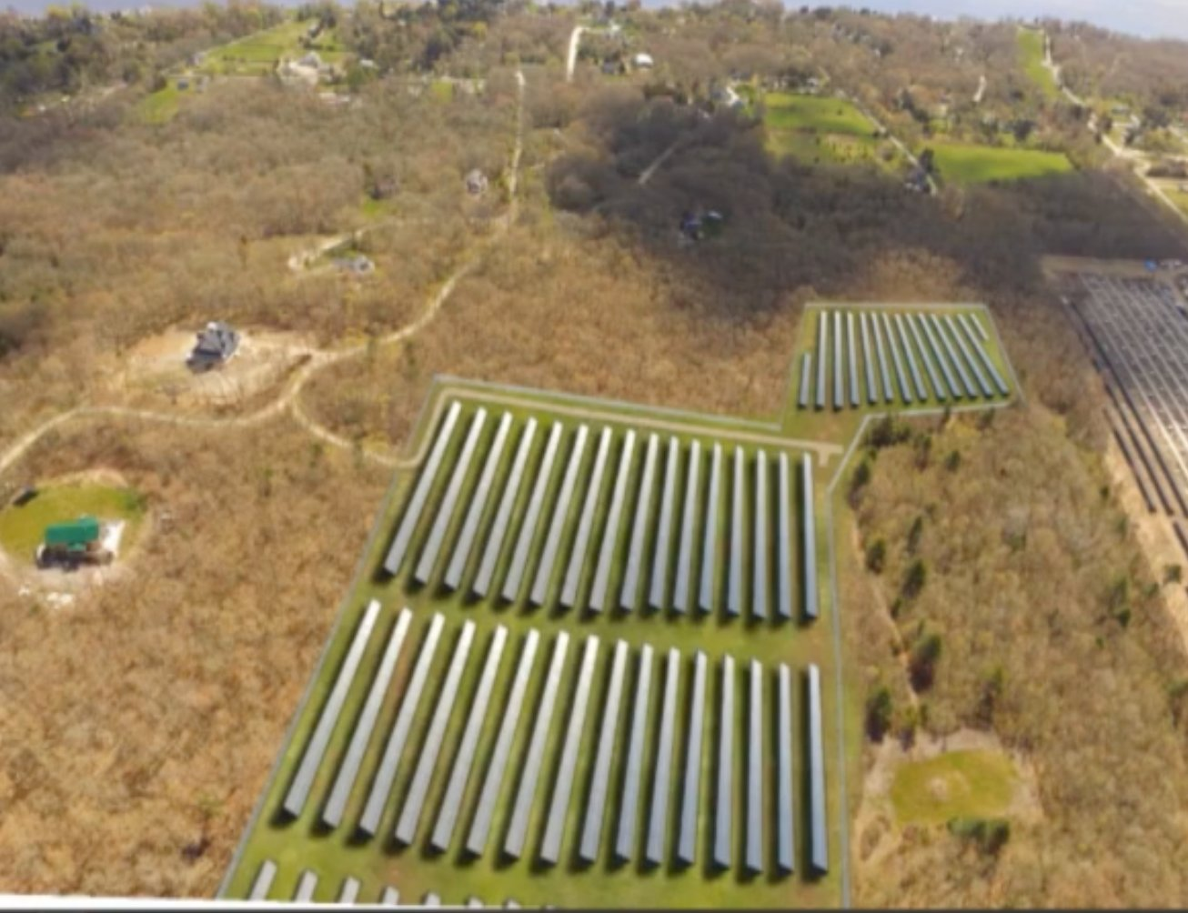 Developer's rendering shows solar panels on land between Drift Road and Route 88 along Soules' Way (an additional section is barely visible in the foreground).