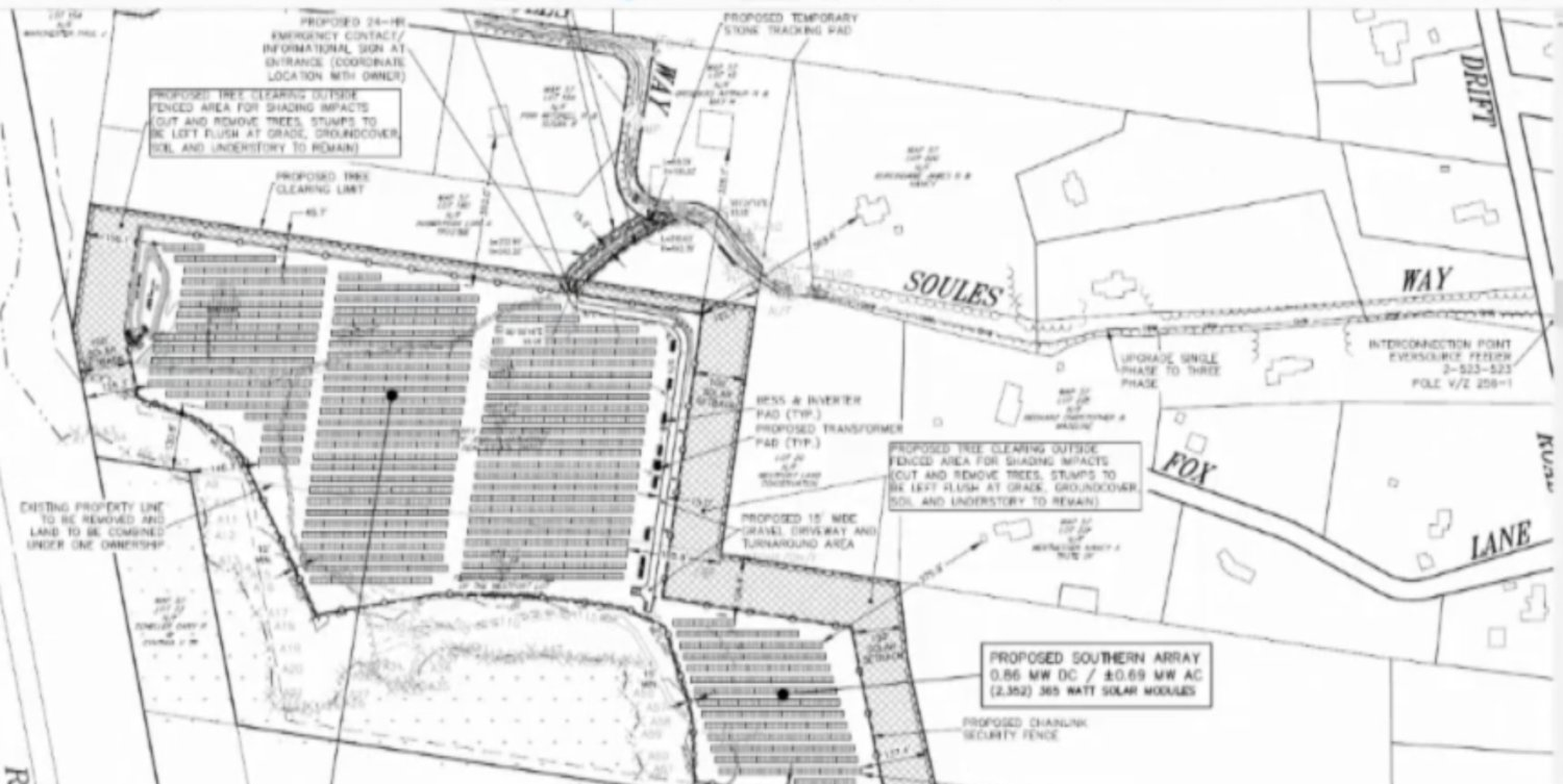Engineer's drawing of the proposed solar facility south of Soules' Way.