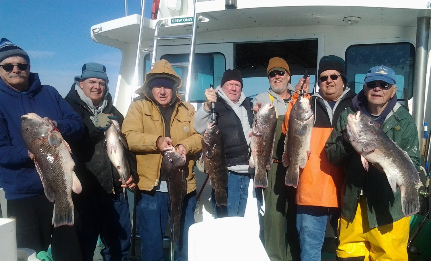 Big tautog: Capt. Charlie Donilon of Snappa Charters, Pt. Judith, takes this New York group tautog fishing every fall. Capt. Donilon to speak at a Saltwater Anglers Zoom seminar on September 28.