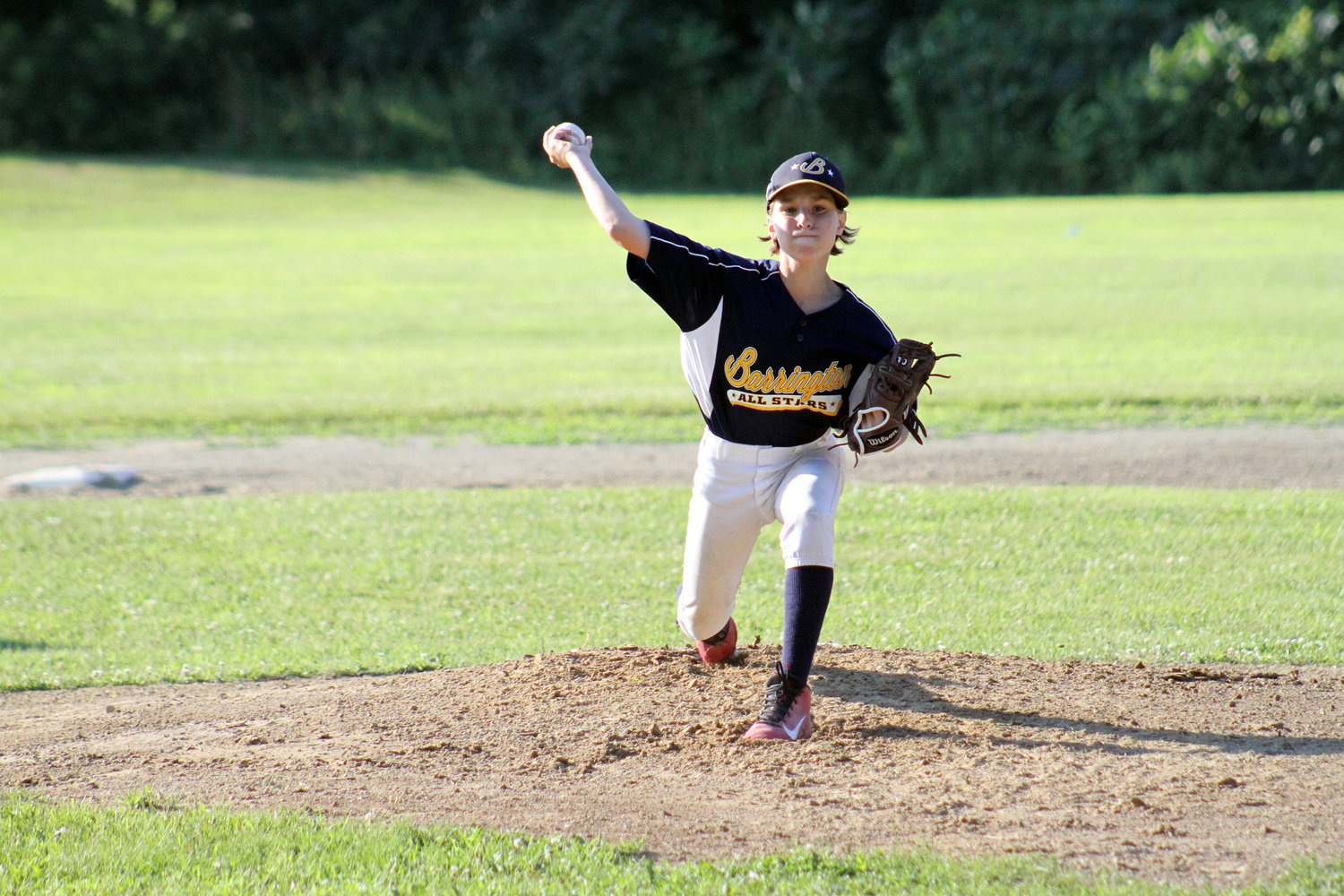 Gabe Tanous delivers a strike for the Barrington Little League Juniors Division All-Star team.