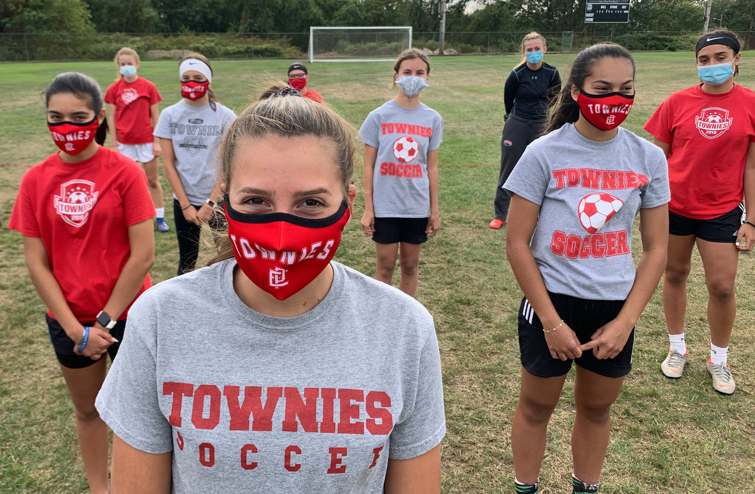 The EPHS girls' soccer team began preparation for the 2020 fall season under new pandemic guidance issued by the RIIL, including the wearing of masks.
