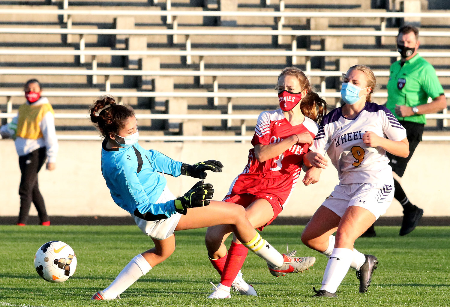 Jordyn Brogan scores the first goal of the game and what proved the deciding tally for the EPHS girls' soccer team in its 2020 season opener against the Wheeler School, October 9, at Pierce Stadium.