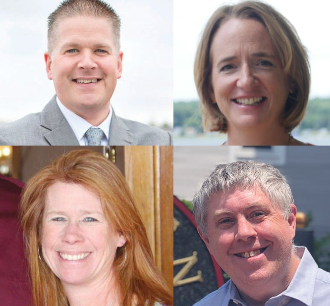 Warren candidates for the Bristol Warren Regional School Committee include (clockwise from upper left) Daryl Gould, Nicky Piper, Dave Matheson and Tara Thibaudeau.