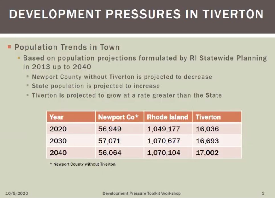 Graph shows that while the population in parts of Newport County is expected to fall, Tiverton's should rise over the next couple decades. And these numbers don't take into account the impact of commuter rail, the town planner said