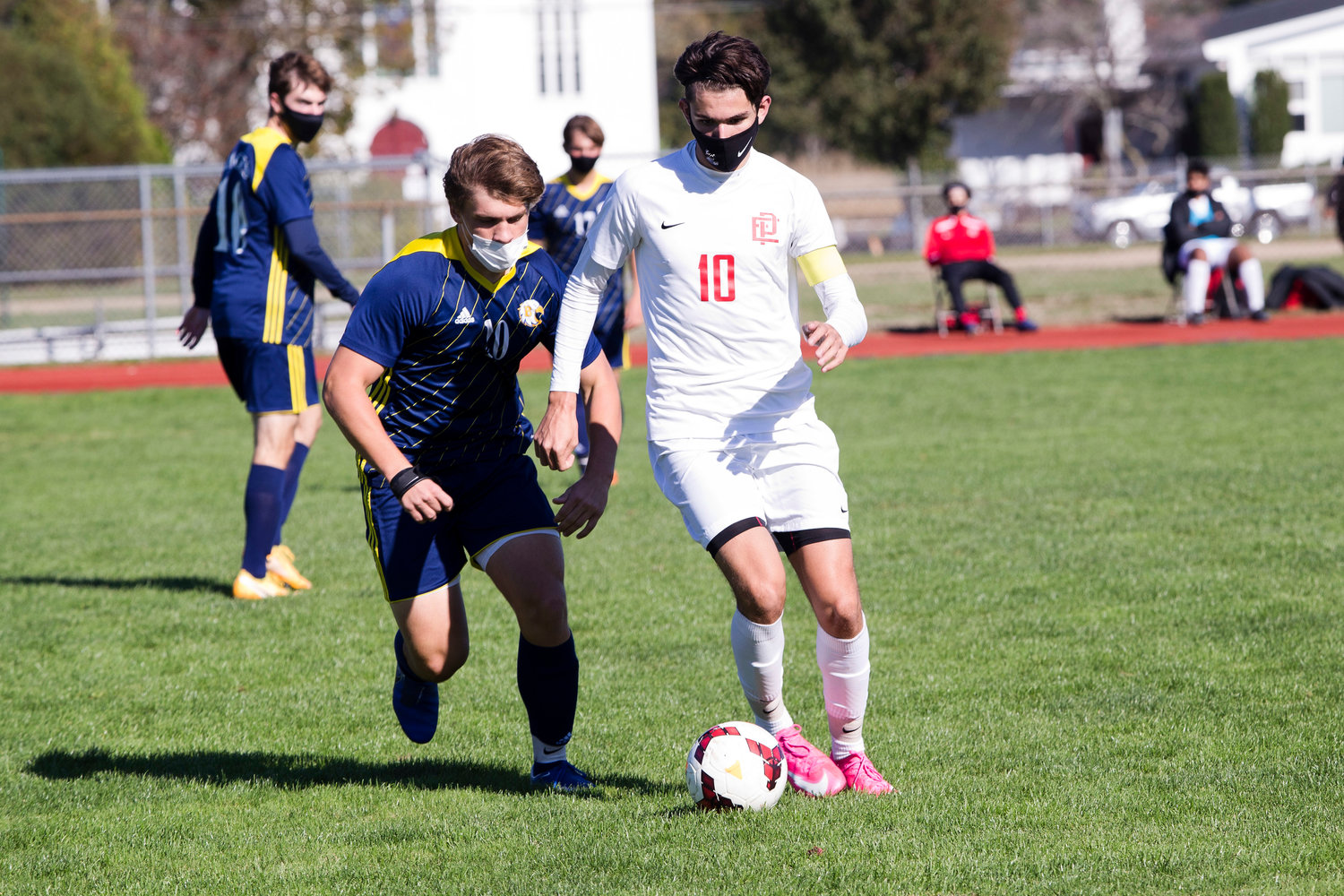Colin Capelo controls a pass at mid-field.